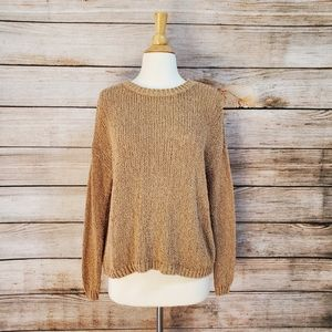 Aerie Camel Brown Tan Crew Neck Sweater